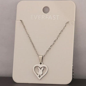 1pc Little Bunny Stainless Steel Custom Necklace Rabbit Heart Pendants Necklaces Womenintothea-intothea