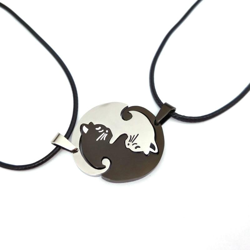 cute Couples Jewelry animal Necklaces Black white Couple Necklace catintothea-intothea