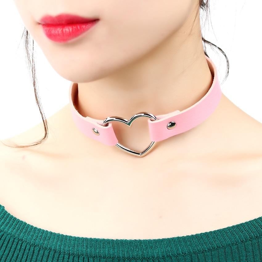 2019 Hot PU Leather Punk Heart Studded Choker Necklace Rivet Buckle Collarintothea-intothea