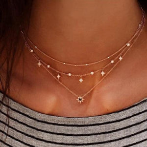 Gold color Choker Necklace for women crystal moon stars Pendant Chain Necklacesintothea-intothea