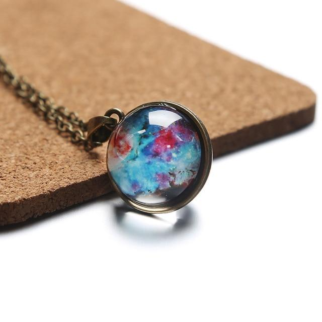 Time Gem Nebula Galaxy Planet Universe Necklace Double Sided Glass Ball Pendantintothea-intothea