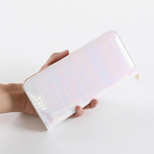 Women Laser Shiny Leather Long Wallets Females Clutch Hologram Zipper Coin Pursesintothea-intothea