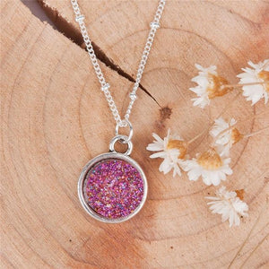 2018 Summer Handmade Drusy Resin Cabochon Round Pendant Necklace New Fashionintothea-intothea