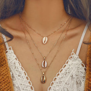 Three Layers of Shell Pendant Necklace Natural Shell Gold Cowrie Women Bestintothea-intothea