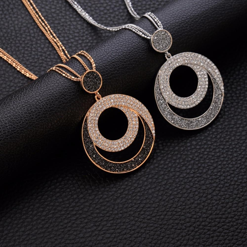 Vintage Woman Statement Necklace Geometric Big Circle Crystal Pendant Necklaces Long Sweaterintothea-intothea