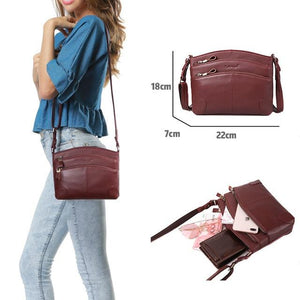 Multi Pockets Vintage Genuine Leather Bag Female Small Women Handbags Bagsintothea-intothea