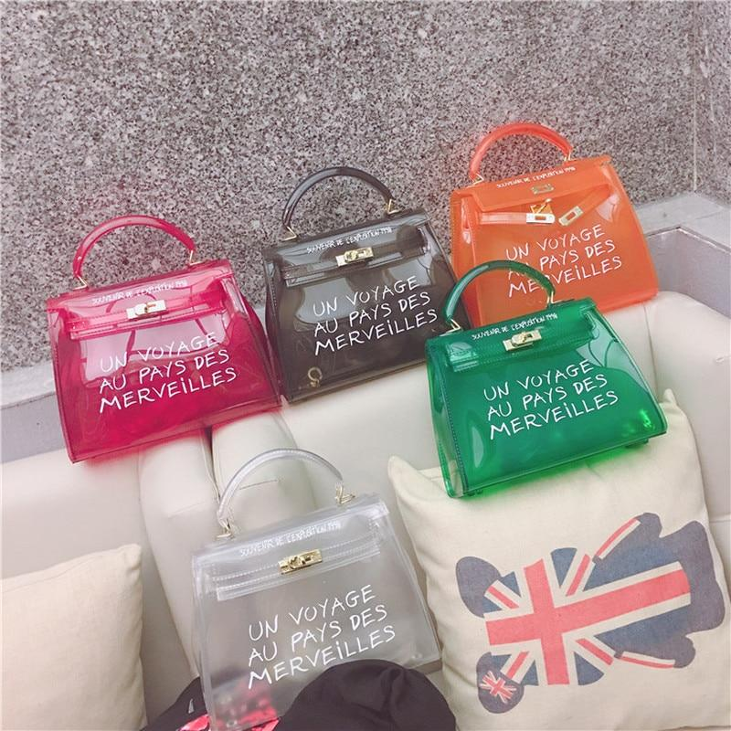 Top-handle Clear Transparent PVC Women Shoulder Bags Letter Jelly Candy Color Womenintothea-intothea