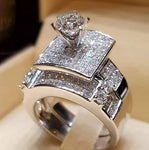 Brand Luxury Female Big Ring Set Fashion 925 Silver Love Bridal Promiseintothea-intothea