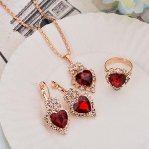 Simple Earrings Rings Necklace Hot Sale Classical Crystal Heart Love Jewelryintothea-intothea