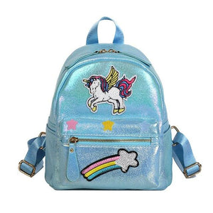 Unicorn Women Leather Backpack Rainbow Sequins Back Pack Bags Fashion Schoolbag Forintothea-intothea
