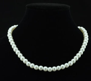 Pearl Necklace 8mm Simulated Round Pearl Chain Necklace For Women Collares Bridalintothea-intothea
