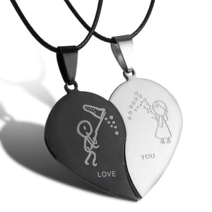 Couples Jewelry Broken Heart Necklaces Black Couple Necklace Stainless Steel Engrave Loveintothea-intothea