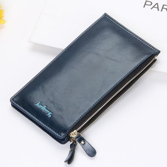 Baellerry Leather Brand Women Wallets Double Zipper Coin Pocket Purse Female Longintothea-intothea