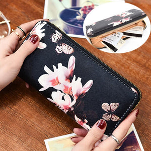Women Fashion Envelope Wallet Flower Print Wallet Creative Long Female Card Holderintothea-intothea