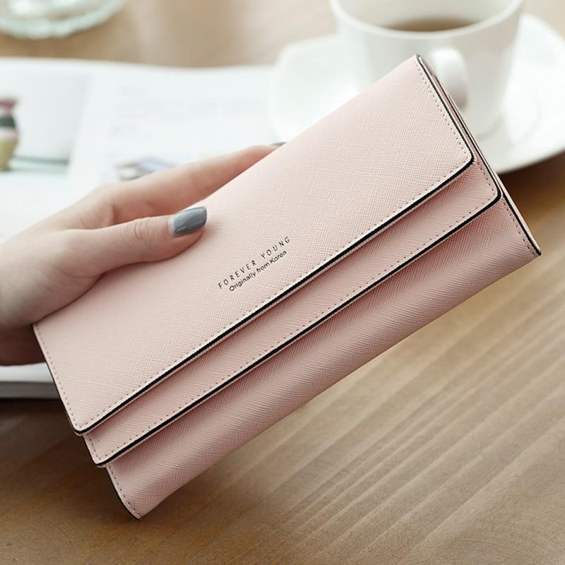 2018 Brand Designer Leather Phone Wallets Women Hasp Long Coin Purses Girlsintothea-intothea