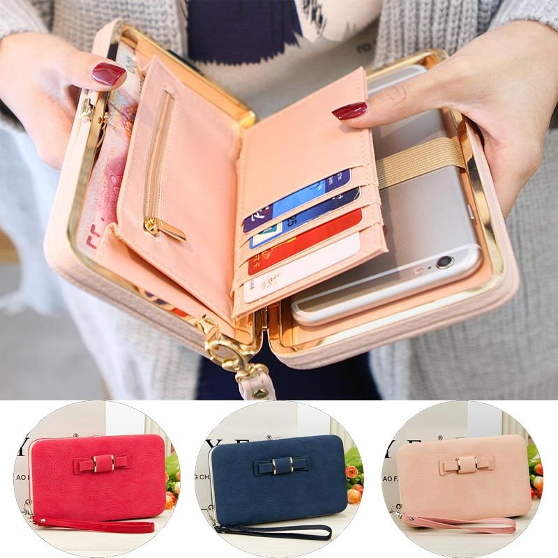 Women's Wallets Fashion Bow Purse Brand Card Holders Cellphone Pocket PU Leatherintothea-intothea