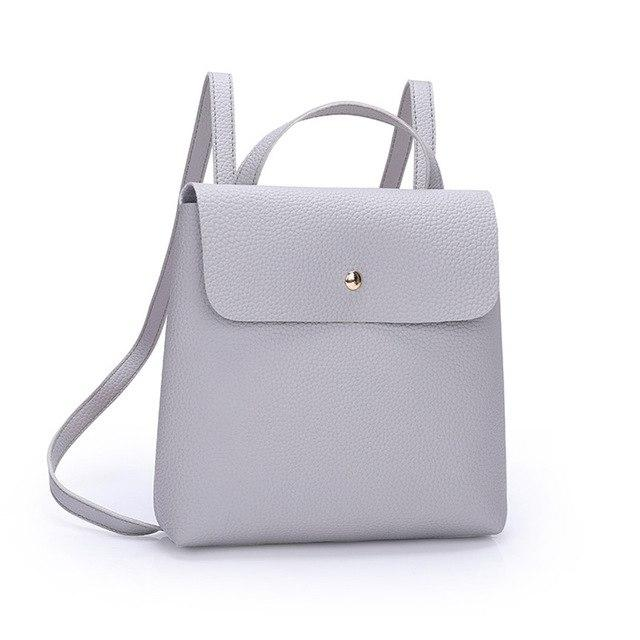 Fshion Women Girl Pure Color Leather Mini School Bag Backpack Shoulder Bagintothea-intothea