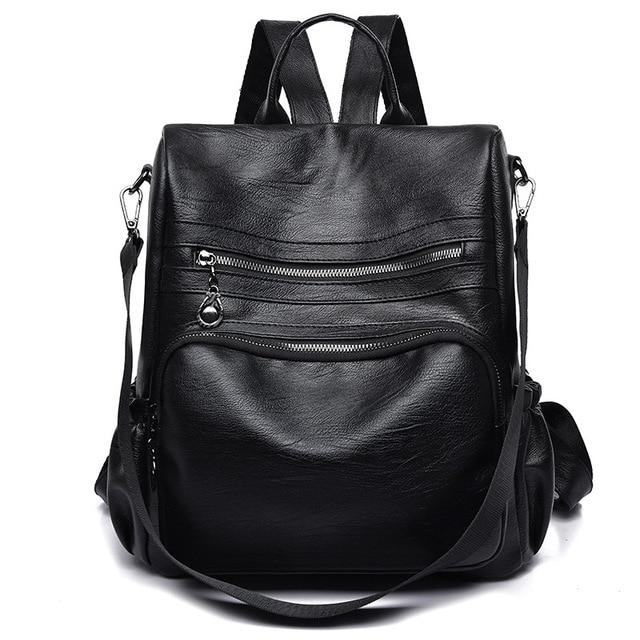 Fashion Women Bagpack Travel PU Leather Backpack Bag School Shoulder Bag forintothea-intothea