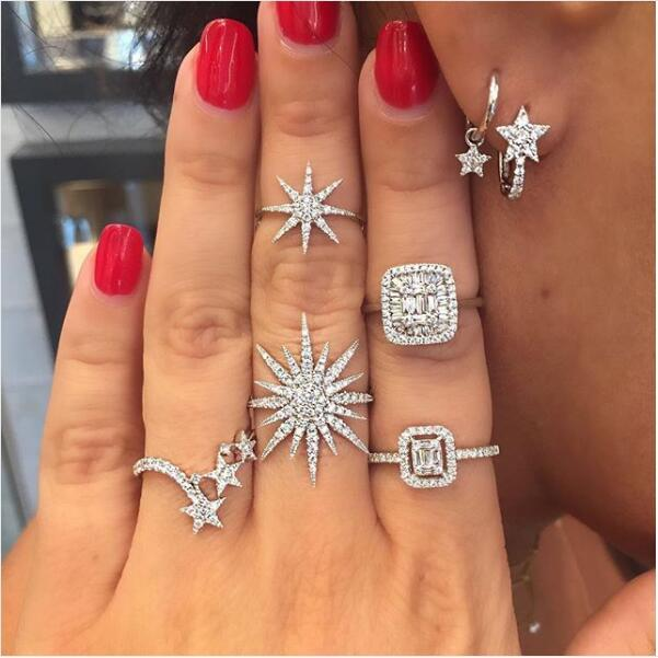 2018 silver color clear cubic zirconia delicate star charm north star sunintothea-intothea