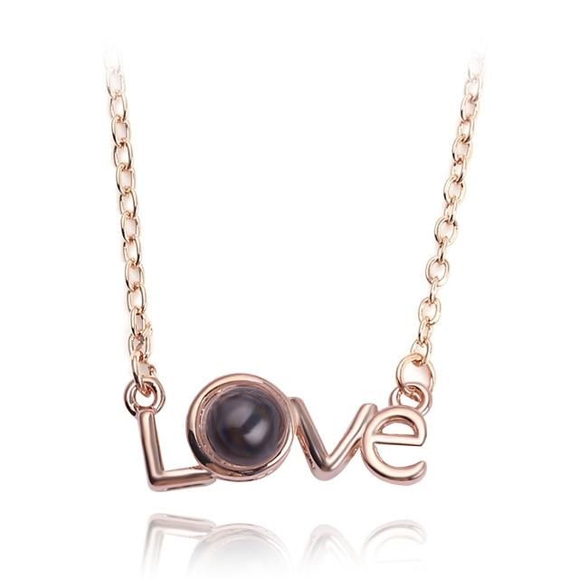 2018 New Arrival Rose Gold&Silver 100 languages I love you Projection Pendantintothea-intothea