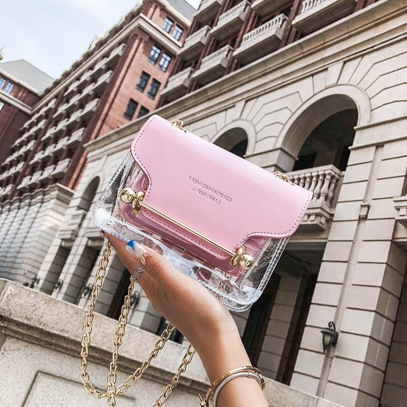 Jelly Fashion Women Brand Design Small Square Shoulder Bag Clear Transparent PUintothea-intothea