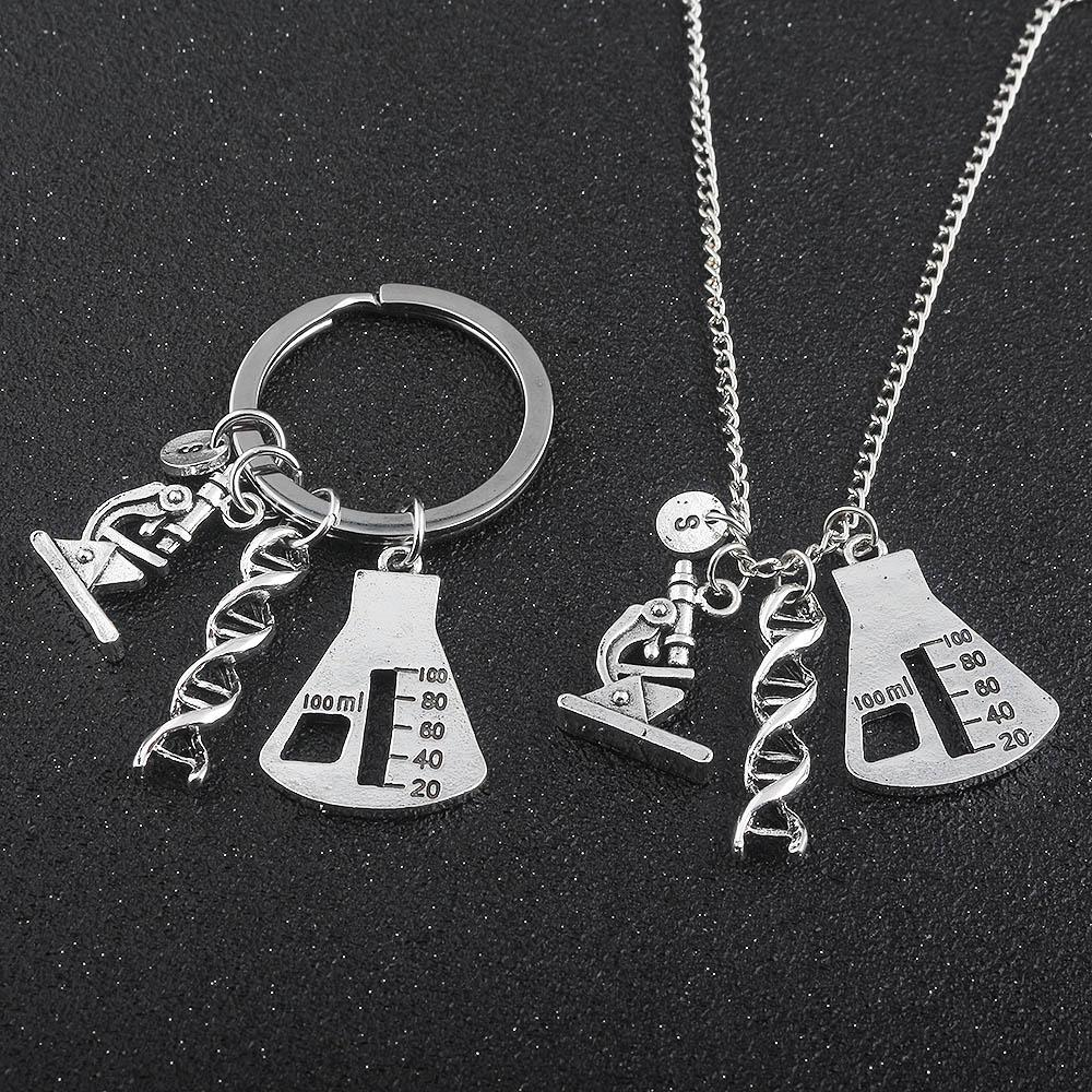 Chemical Biological Experimental Tool Necklace Pendant Conical Flask Molecular DNA Microscope handmadeintothea-intothea
