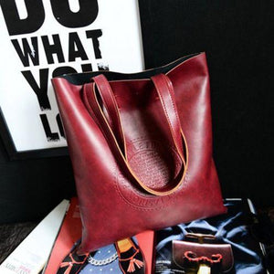 Women Leather Korean Handbag Shoulder Bag Tote Fashion Ladies Hobo Bagintothea-intothea
