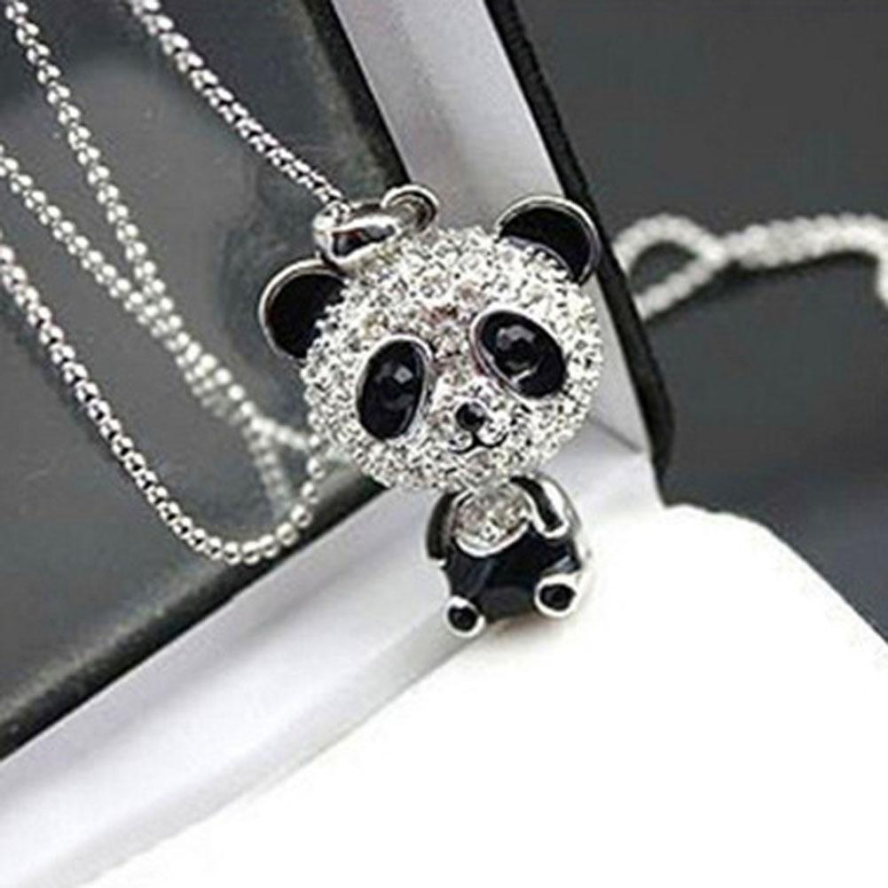 Classical Women's Rhinestone Moving Head Panda Pendant Sweater Chain Necklaceintothea-intothea
