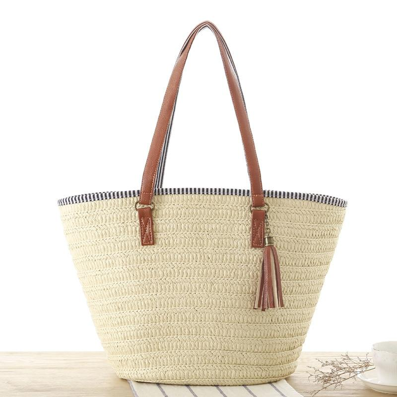 2019 Summer Style Beach Bag Women Straw Tassel Shoulder Bag Brandintothea-intothea