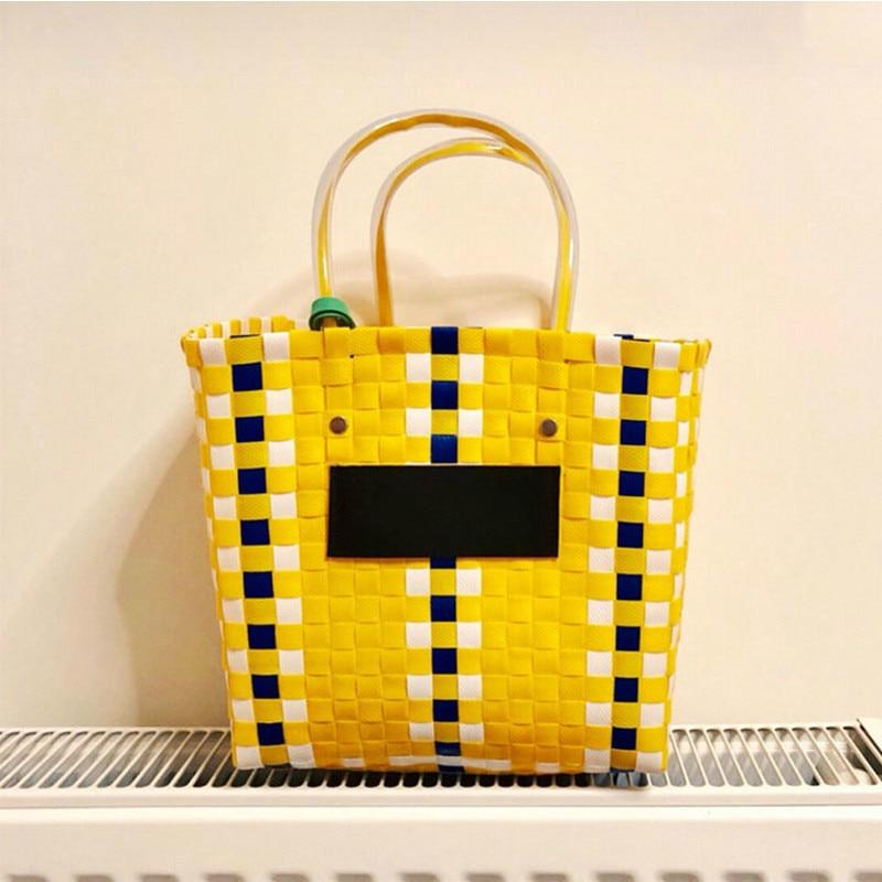 Ins Hot Summer Beach Basket Patchwork Striped Hand Knitted Color Casual Womenintothea-intothea