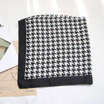 Classic Houndstooth Scarf for Women Head Bandage Silk-like Sjaal Female Bag Decorationintothea-intothea