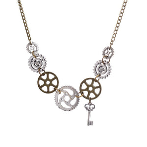 New Fashion Steampunk Statement Necklace Link Cable Chain Antique Bronze Gearintothea-intothea