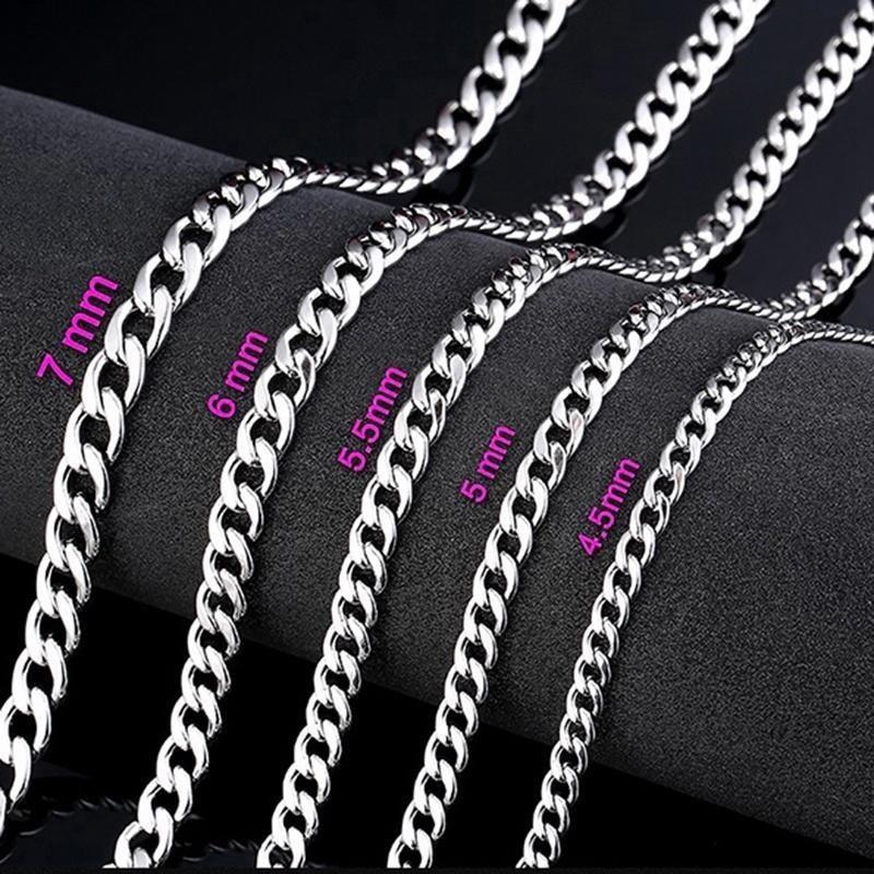 Men Stainless Steel Long Chain Necklace Silver 4.5-7mm Necklace For Maleintothea-intothea
