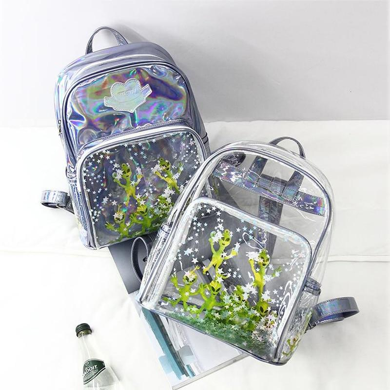 Laser backpack students in 2019 new ultra-perspective Harajuku alien transparent sequins starintothea-intothea