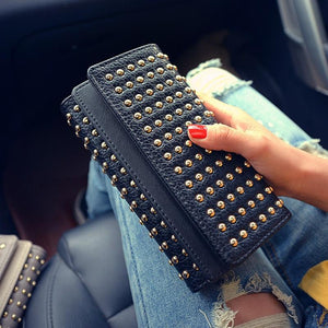 2019 Summer new rivets fashion twists and turns wallet big wild PUintothea-intothea