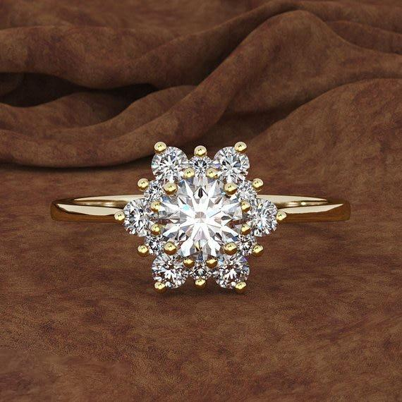 Luxury Female Snowflake Ring Fashion 925 Silver Yellow Rose Gold Color Crystalintothea-intothea