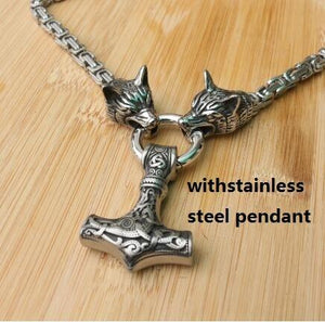 Men stainless steel necklace viking wolf head with thor's hammer mjolnir pendantintothea-intothea