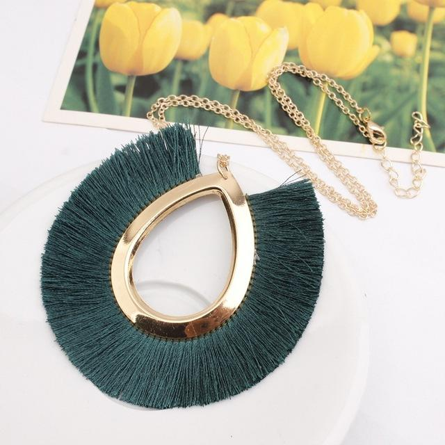 2019 new Boho Fashion weaving Long Tassels collar choker necklace Pendantsintothea-intothea