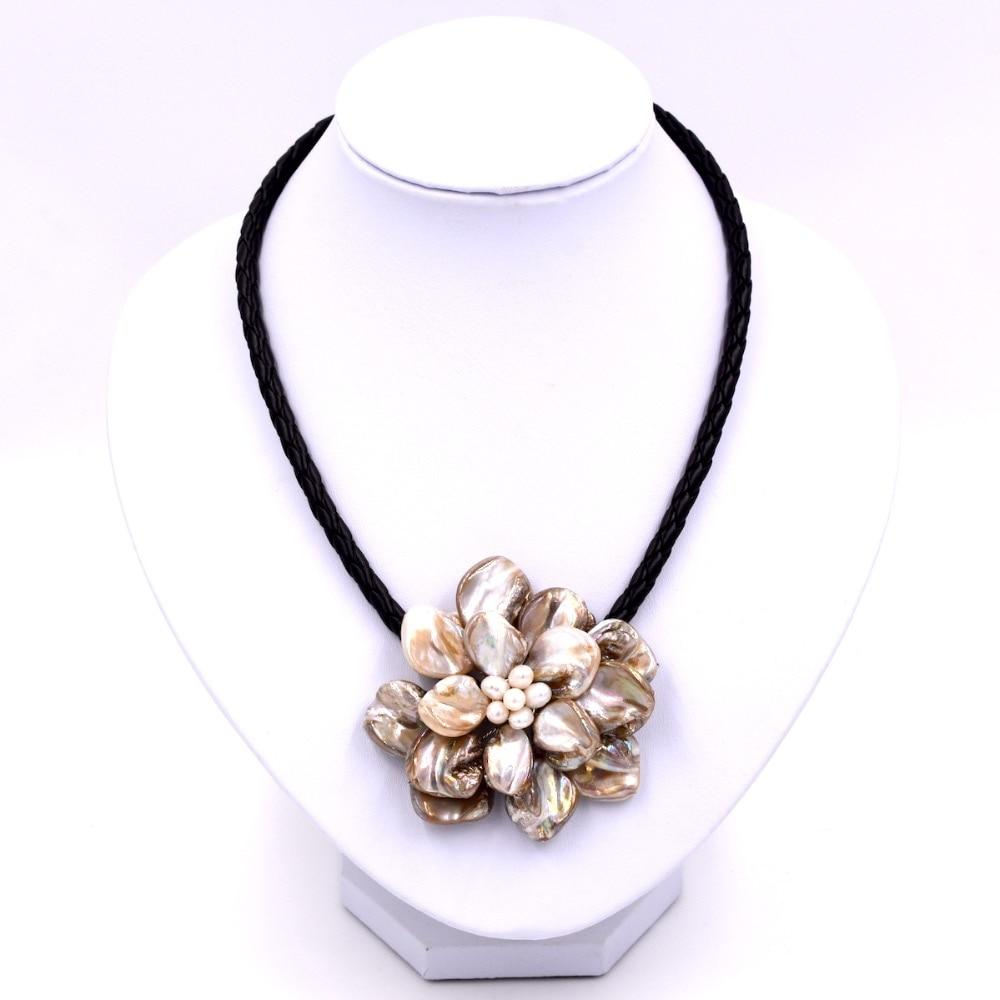 Fashion jewelry beige mop shell white pearl necklace with woven leatherintothea-intothea