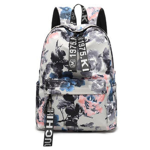 Simple Vintage Chinese Style Women Canvas Backpack Flower Printing Nylon Bag Girlsintothea-intothea