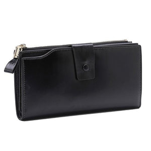 100% Genuine Leather Wallet Women Long Clutch Ladies Wallets Cowhide Leather Multi-Cardintothea-intothea
