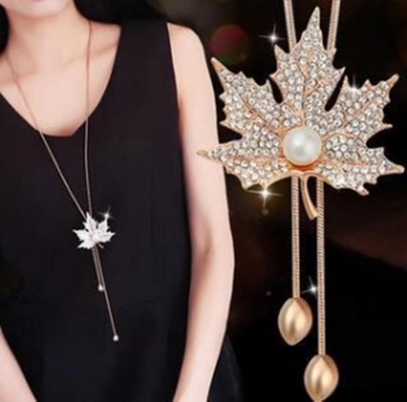 2018 Hot New Lovely Maple Leaf Long Beaded Chain Tassel Pendant Necklaceintothea-intothea