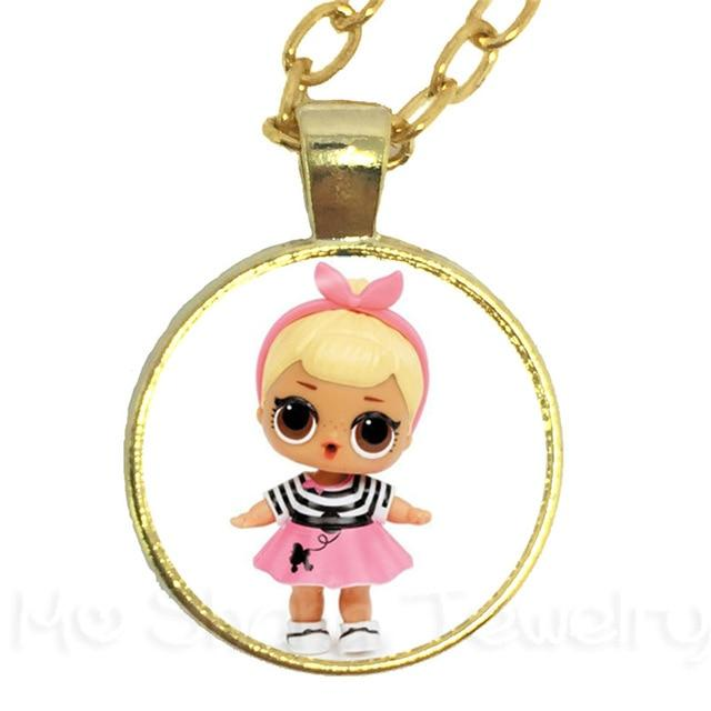 LOL Cartoon Art Picture Necklace 25mm Round Glass Cabochon Pendant Sweater Chainintothea-intothea
