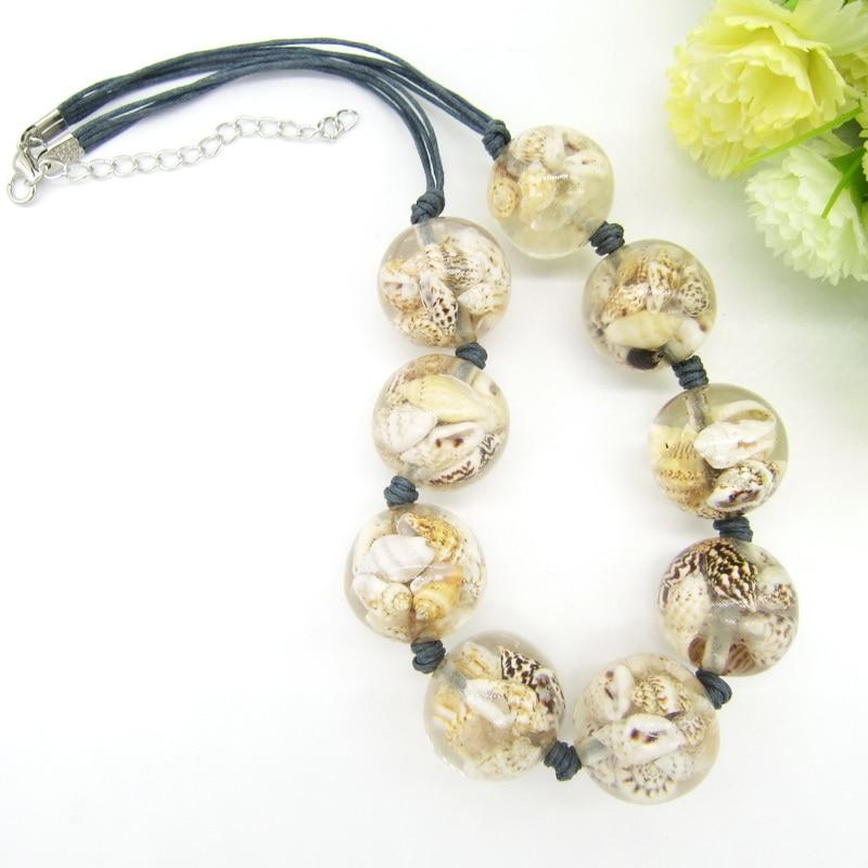 Newest Item Nature Shells Inside the Transparant Round Beads Female`s Short Necklaceintothea-intothea