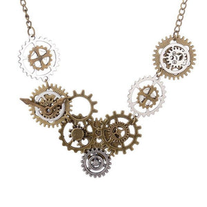 Hot Sale Various Gears Combined DIY Steampunk Necklace Vintage Bronze Ox Andintothea-intothea