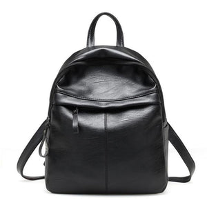 Women Backpacks Soft Leather Black simple waterproof Backpack Female 2019 New Travelintothea-intothea