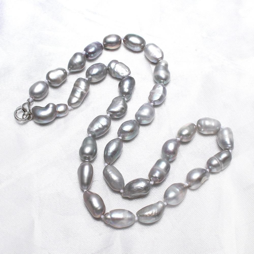 Fashion Jewelry 100% Natural Freshwater Pearl Necklace Crystal Thread grey 8-9mmintothea-intothea