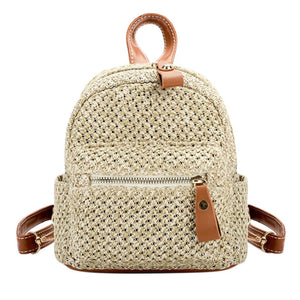 Straw Women Backpack Chain Mini Shoulder Bags Weave Hollow Beach Girls Satchelintothea-intothea