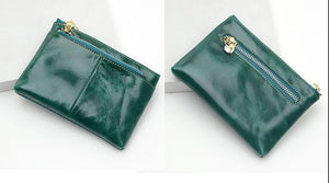 Ladies Real Leather Wallets Coin With Zipper Solid Women Wallet Genuine Cowintothea-intothea