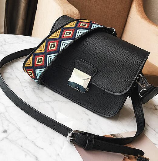 Ethnic Wide Strap PU Leather Women Messenger Bag Highlight Yellow Small Shoulderintothea-intothea